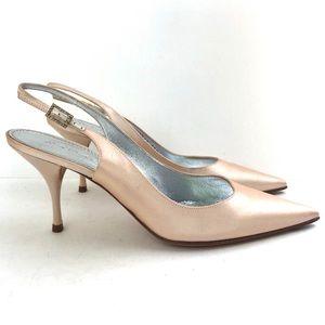 Casadei pink satin slingback pointy kitten heels